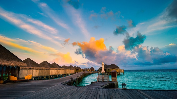 resort, sea, sunset