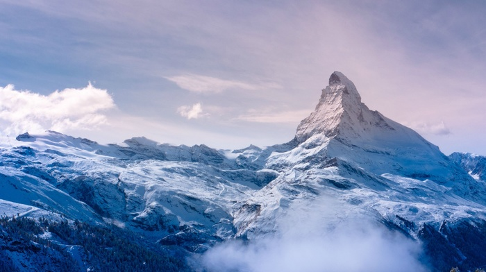 Europe, clouds, Alps, mountain, snow, Switzerland, snowy peak, landscape, nature, Matterhorn