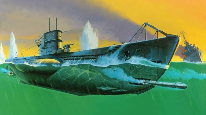 military, split view, submarine, artwork