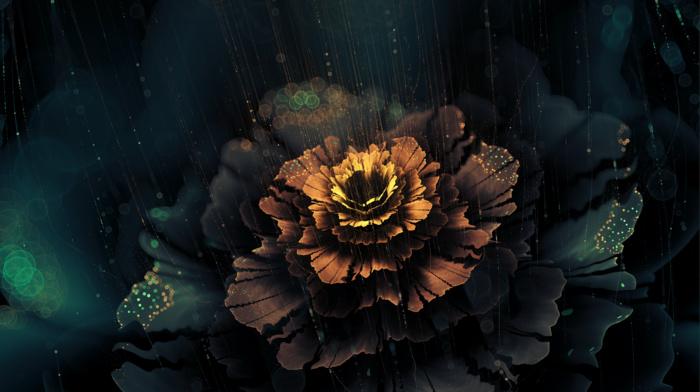 abstract, fractal flowers, digital art, flowers, dark, artwork, fractal