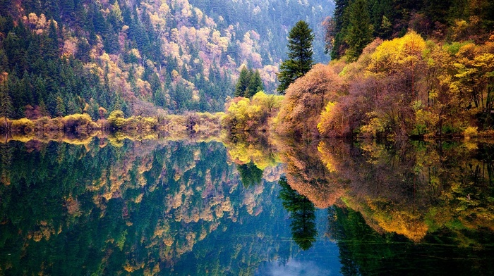 trees, lake, blue, colorful, China, nature, water, mountain, forest, fall, landscape, reflection