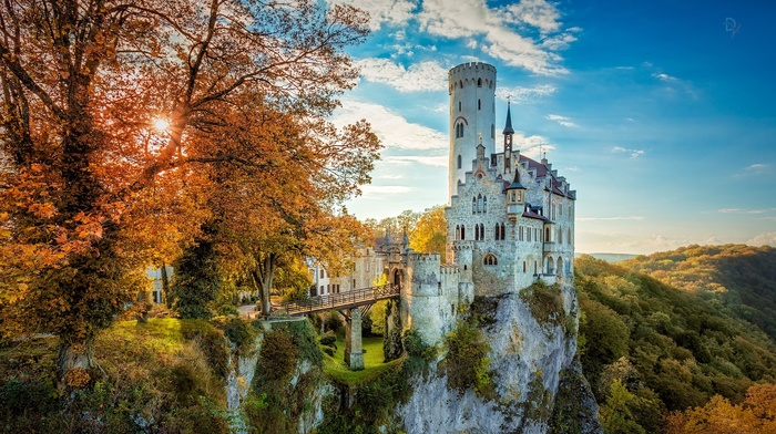bridge, old building, HDR, Germany, cliff, nature, fall, castle, building, trees, tower, architecture, sunlight, forest, landscape