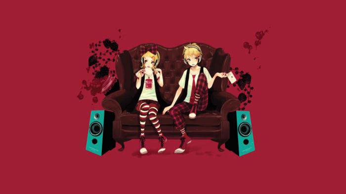 chair, Kagamine Rin, headphones, speakers, Vocaloid, Kagamine Len