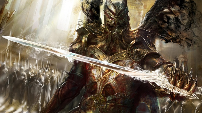 video games, concept art, army, warrior, sword, knight, Legend of the Cryptids, knights, fantasy art
