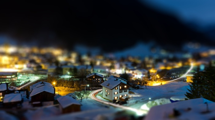 mountain, rooftops, nature, winter, trees, architecture, lights, tilt shift, street, snow, house, light trails, road, long exposure, town, night
