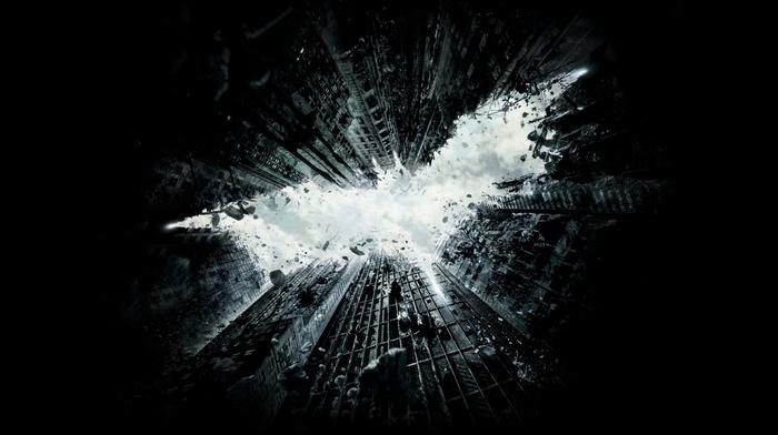 simple background, Batman logo, digital art, Gotham City, rock, ruin, clouds, black background, minimalism, DC Comics, Batman, fictional, falling, simple, skyscraper, sky