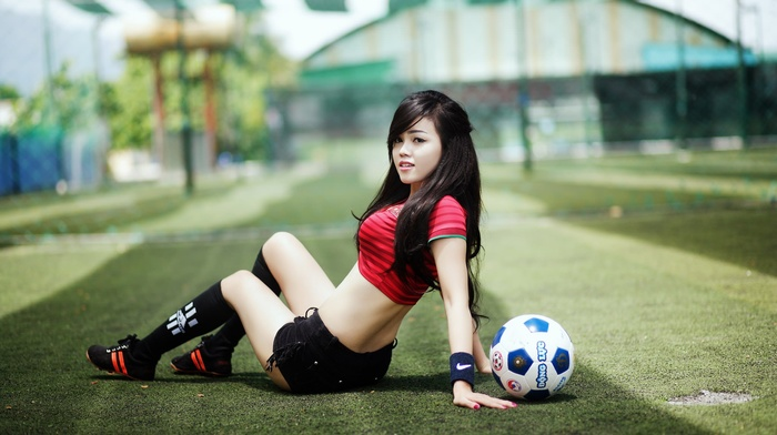 back, girl, sitting, legs, Asian, ball, long hair, jean shorts