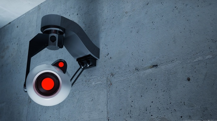 Portal, digital art, Valve, camera, Portal 2, GLaDOS, walls