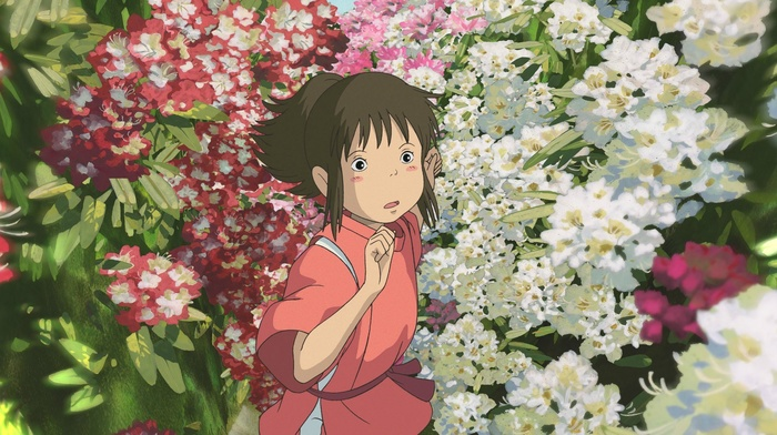 Chihiro, Studio Ghibli, flowers, Spirted Away, anime girls, anime