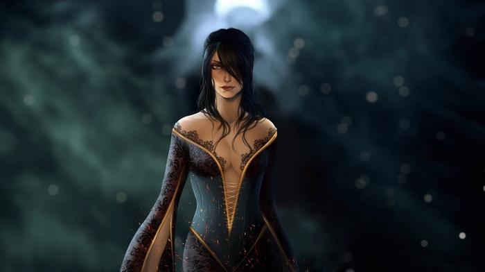 Morrigan character, girl, artwork, Dragon Age Inquisition, long hair, fantasy art