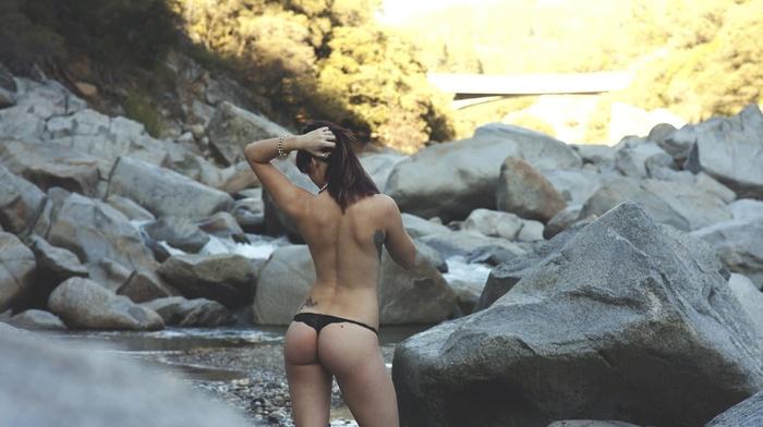 ass, girl outdoors, lingerie, girl, river, hands in hair, rock, back