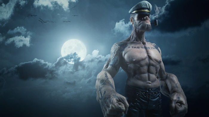 Popeye, realistic, night, clouds, sailors, sailor, 3D, tattoo, pipes, digital art, moon