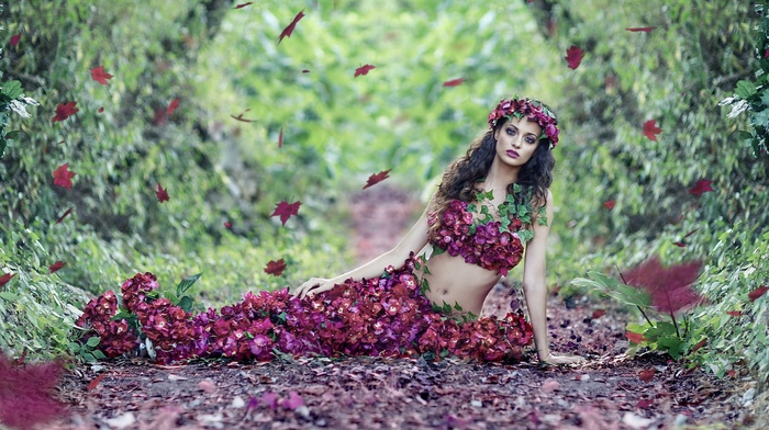 plants, girl, forest, leaves, flowers, path, girl outdoors, model, long hair, curly hair, dress, brunette, belly