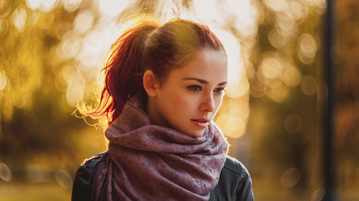 ponytail, girl, jacket, scarf, redhead, earrings, leather jackets, depth of field, girl outdoors, face
