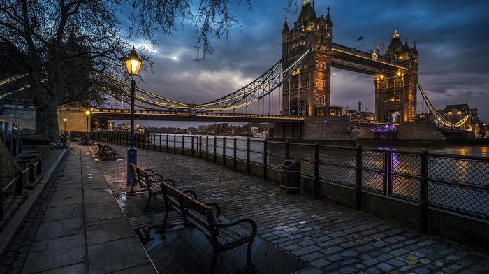 city, cobblestone, Tower Bridge, night, River Thames, London, street, England, bridge, street light