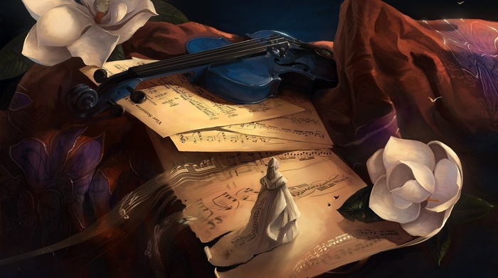 flowers, artwork, musical notes, digital art, musical instrument, violin