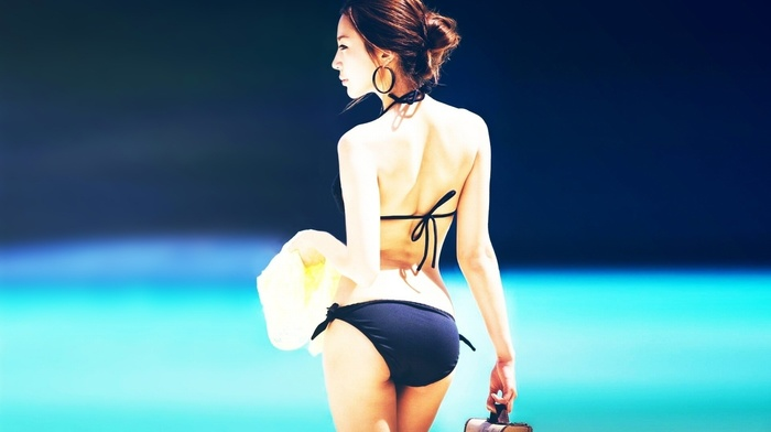 black clothing, bikini, back, hair bun, earrings, Asian