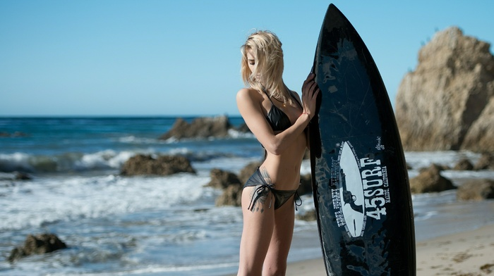 bikini, beach, blonde, tattoo, sea, surfing, surfboards, flat belly