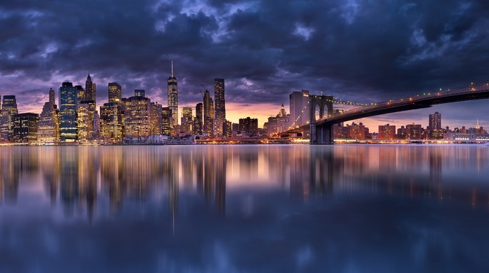 water, Manhattan, skyscraper, urban, clouds, bridge, cityscape, panoramas, sea, landscape, evening, reflection, New York City, architecture, building, modern, lights