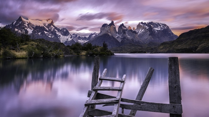 Chile, wood, shrubs, long exposure, Torres del Paine, summer, clouds, mountain, sunrise, calm, landscape, snowy peak, water, lake, nature
