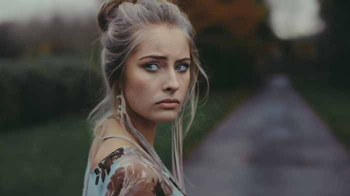 blonde, girl, Camille Rochette, face, blue eyes