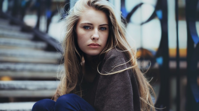 girl, blonde, Camille Rochette