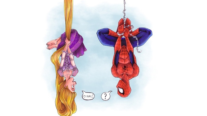 crossover, Tangled, comic books, upside down, Rapunzel, spider, man, Disney, girl, movies, spider, long hair