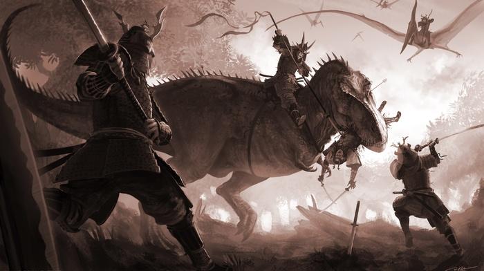 fantasy art, katana, sword, Tyrannosaurus rex, digital art, samurai, T, Rex, dinosaurs