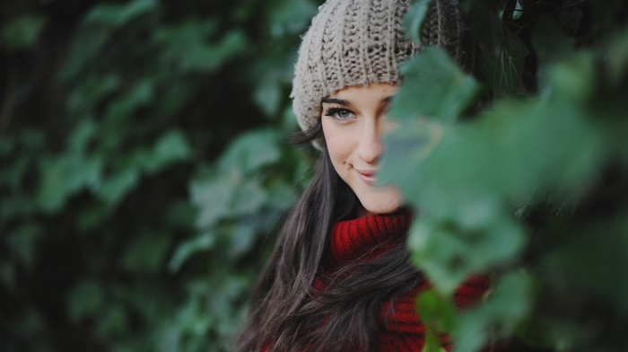 long hair, scarf, brunette, smiling, nature, woolen, gray eyes