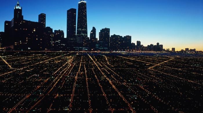 USA, night, long exposure, modern, architecture, Chicago, cityscape, city, lights, street, light trails, building, urban, skyscraper, street light