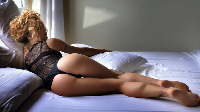 the gap, lying on side, girl, bra, black bras, black panties, long hair, rear view, lying on front, model, dark hair, ass, see, through clothing, closed eyes, curvy girl, panties, blonde, caressing, tattoo, arched, lingerie, in bed