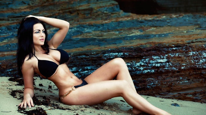 girl, hands in hair, flat belly, bikini, sand