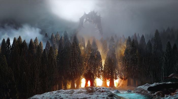 dragon, Elder Scrolls, video games, trees, the elder scrolls v skyrim, fire, forest