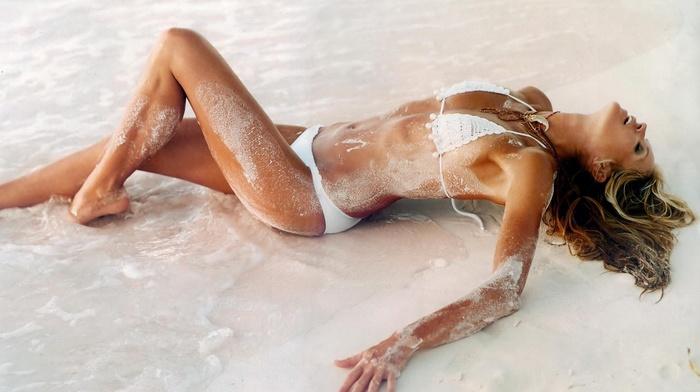 blonde, girl outdoors, open mouth, lying on back, bikini, sea, swimwear, beach, necklace, white bikini, sand