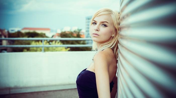 face, blonde, girl, girl outdoors, brown eyes, portrait, earrings, depth of field