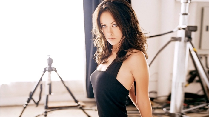 brunette, girl indoors, blue eyes, looking at viewer, dress, Olivia Wilde, girl, studios, black dress
