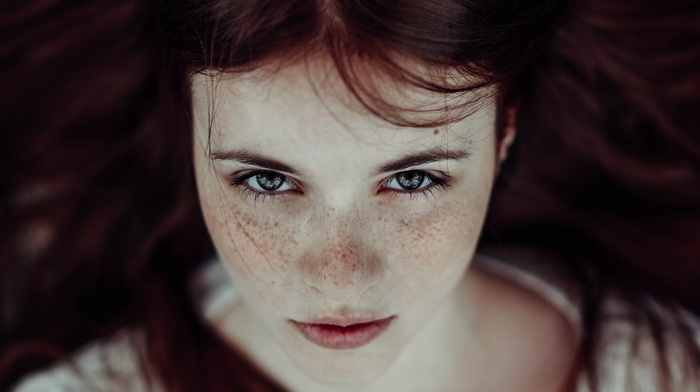looking at viewer, redhead, freckles, face, long hair, blue eyes, girl