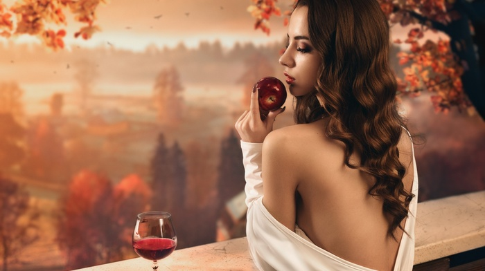 apples, white dress, girl, leaves, forest, open mouth, model, fall, nature, bare shoulders, long hair, trees, glass, girl outdoors, brunette, wine, rear view, birds, closed eyes