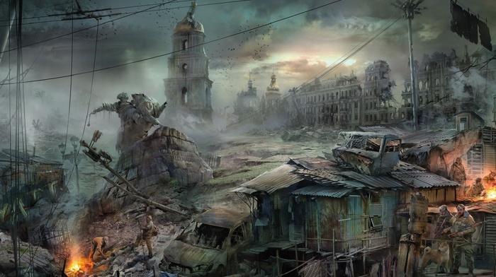 statue, dystopian, apocalyptic, ruin, Kiev, Ukraine, war