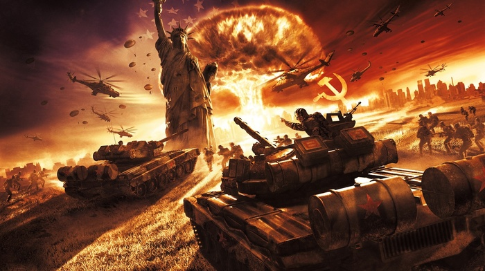 aircraft, nuclear, explosion, video games, war, helicopters, military aircraft, statue of liberty, World War III, soldier, Soviet Union, USSR, world in conflict, Soviet Army, statue