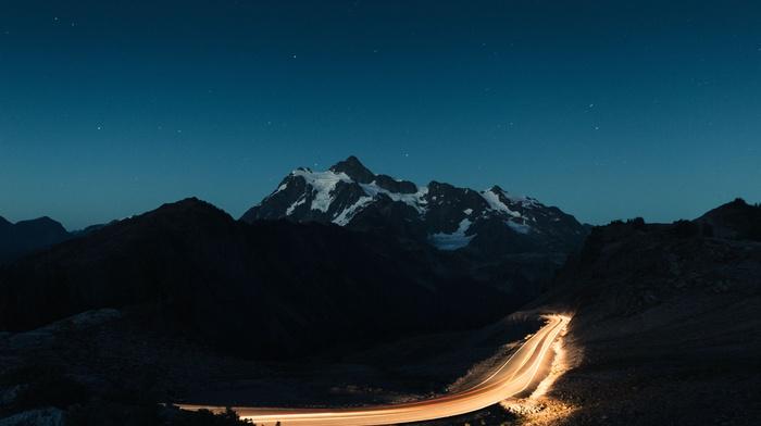 long exposure, landscape, silhouette, hill, road, stars, night, sky, nature, mountain, light trails, snowy peak