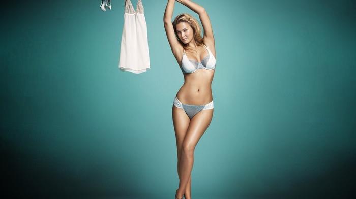 panties, lingerie, blue background, blue eyes, Bar Refaeli, Blue Lingerie, bra, arms up, girl, blonde, flat belly, blue panties, blue bras