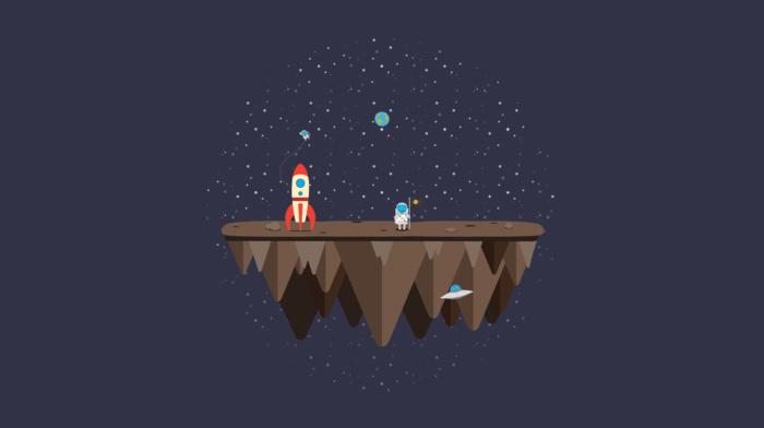 space, flag, Rocket, vectors, floating island, astronaut, Earth, aliens, minimalism, monkeys, Adobe Illustrator, stars, ufo