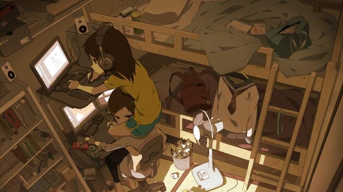 anime girls, original characters, bedrooms, room, headphones