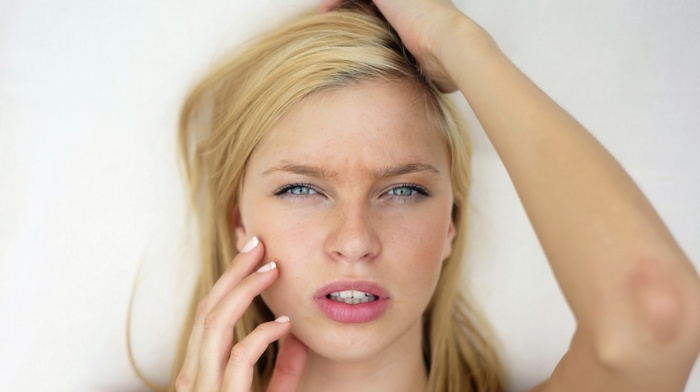 closeup, portrait, open mouth, girl, hands in hair, blonde, face, blue eyes