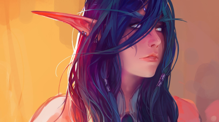 World of Warcraft, fantasy art, fan art, elves, Night Elves