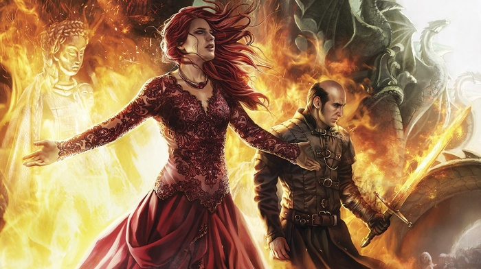artwork, fantasy art, fire, fan art, magic, sword, girl, digital art, Stannis Baratheon, a song of ice and fire, redhead, dragon, Game of Thrones, statue, red dress, dress, Melisandre