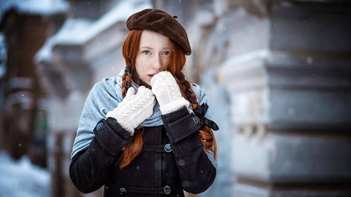 girl, snow, gloves, portrait, redhead, ponytail