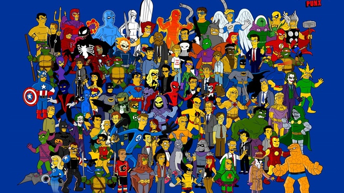 Teenage Mutant Ninja Turtles, The Simpsons, Batman, Daredevil, Venom, The Punisher, Bart Simpson, Silver Surfer, Wolverine, Lisa Simpson, Hulk, Thor, Fantastic Fo, Homer Simpson, Galactus, Iron Man, Wonder Woman, Superman, Marge Simpson