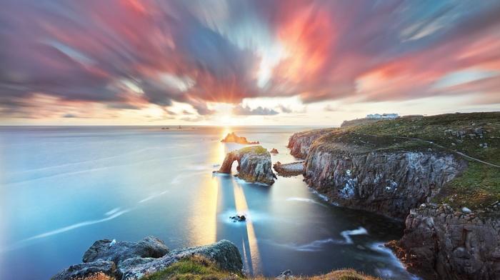 horizon, sea, clouds, rock formation, path, sunlight, coast, waves, sunset, cliff, nature, long exposure, landscape